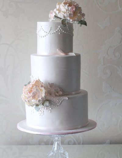 3 Tier Cream Lace Pearl Wedding Cake