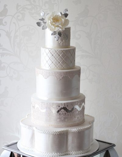 5 Tier Cream Lace Wedding Cake