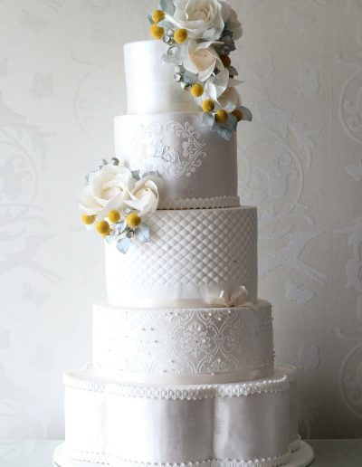 5 Tier Cream Yellow Wedding Cake