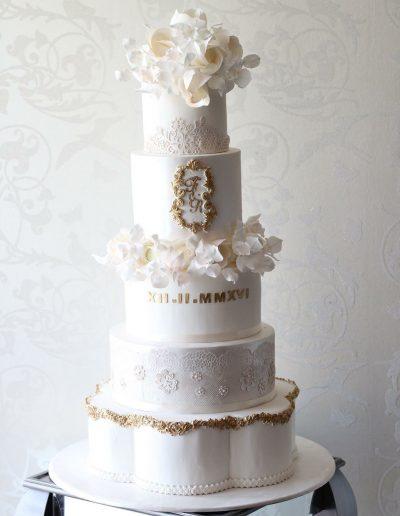 5 Tier Gold Lace Floral Wedding Cake