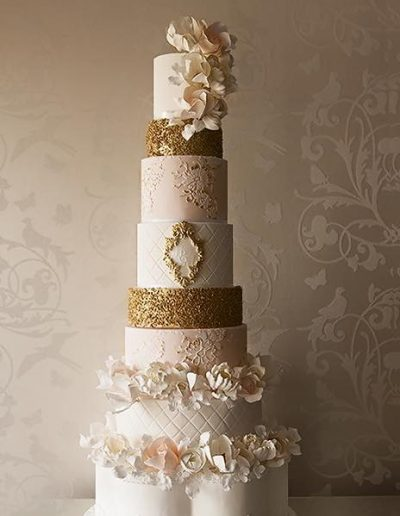 8 Tier Cream Gold Wedding Cake