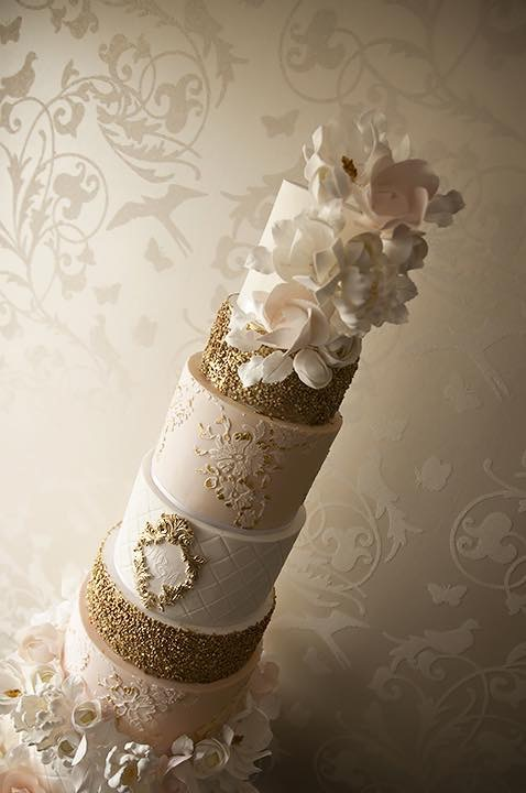Vindya + Co Cakes - 8 Tier Cream Gold Wedding Cake - Designer Cakes Melbourne