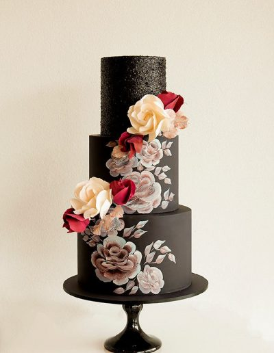 Black Flower Contrast Cake