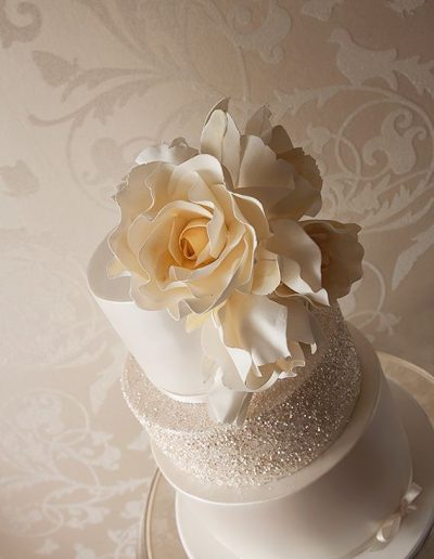 Cream Glitter Floral Wedding Cake