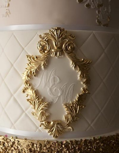 Cream Gold Close Up Wedding Cake