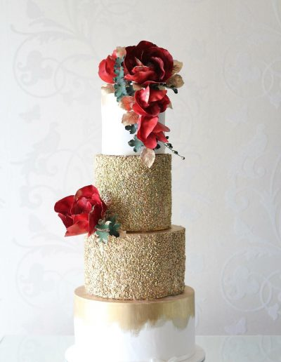 Gold Red Foral Wedding Cake