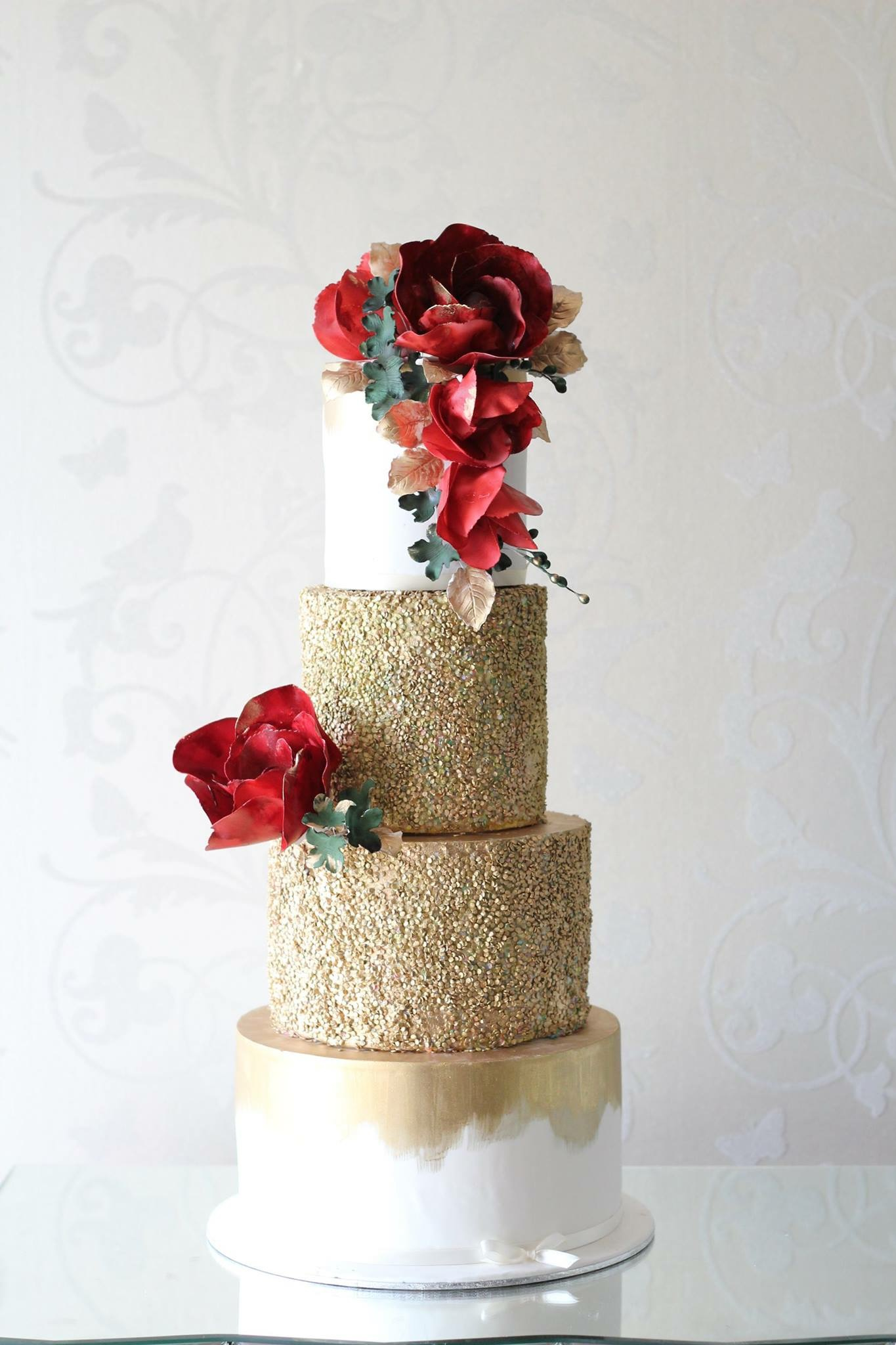 Gold Red Foral Wedding Cake Vindya Cakes Events