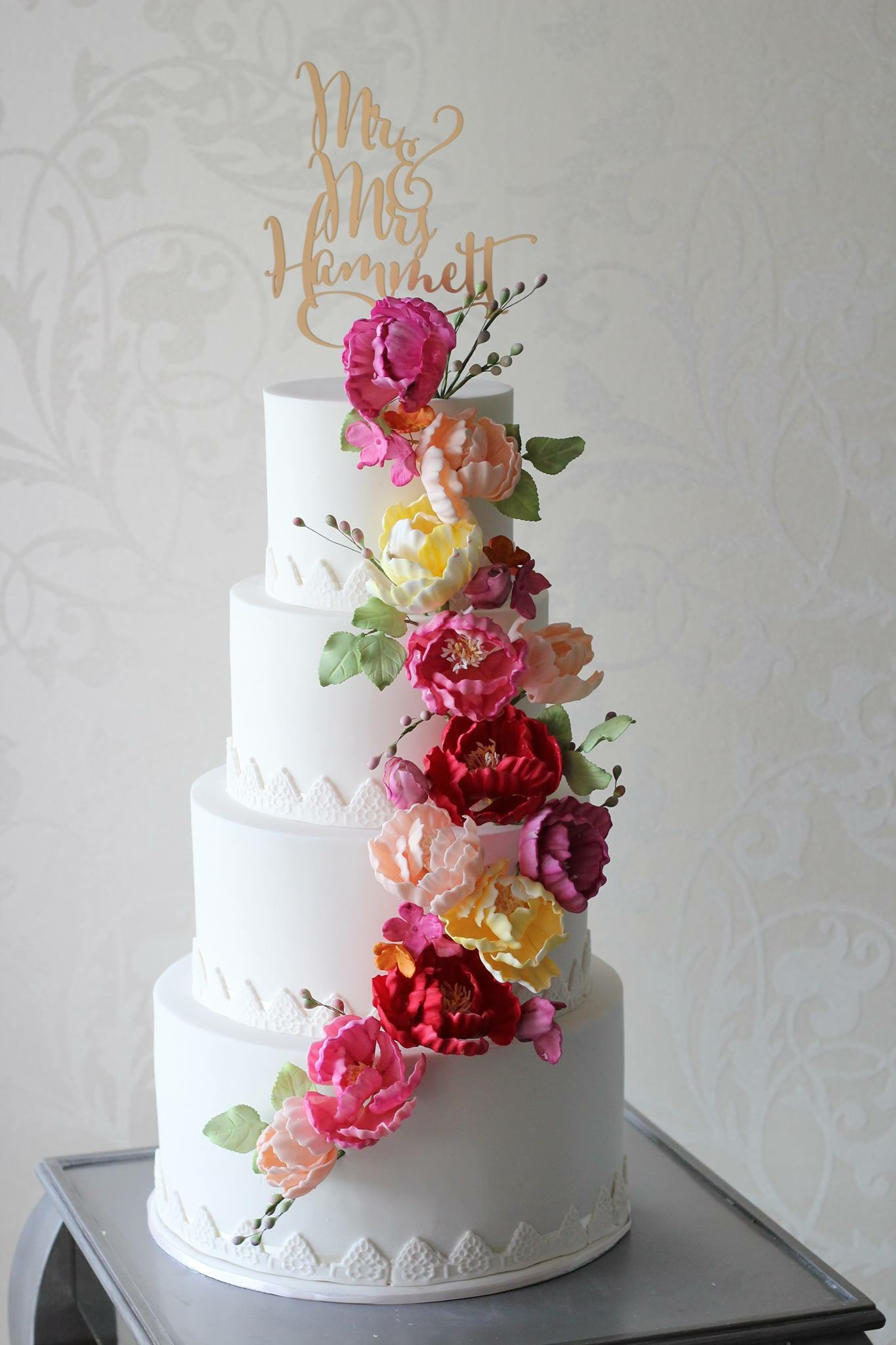 Cascade Of Flowers On Wedding Cake