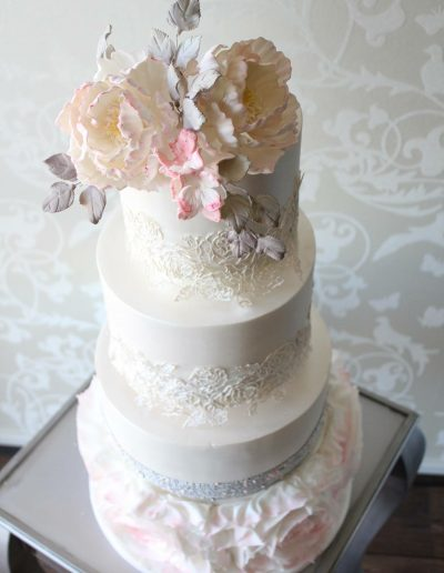 White Lace Pink Floral Wedding Cake