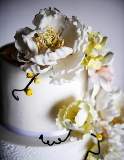 White Yellow Flower Wedding Cake