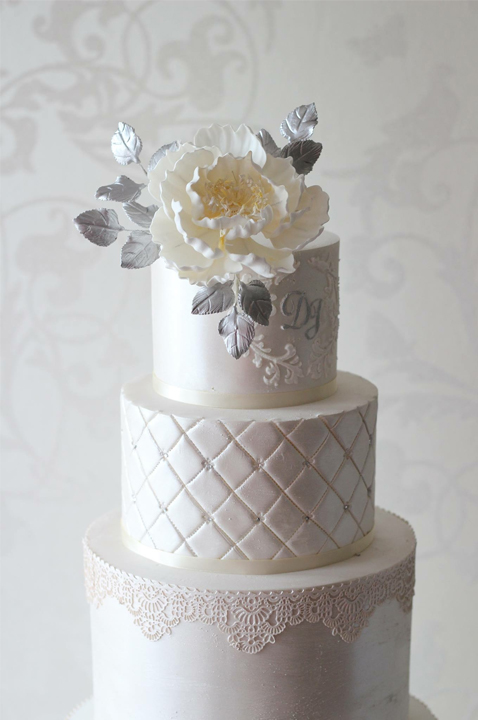 Vindya + Co Cakes - Cream Lace Floral Wedding Cake - Designer Cakes Melbourne
