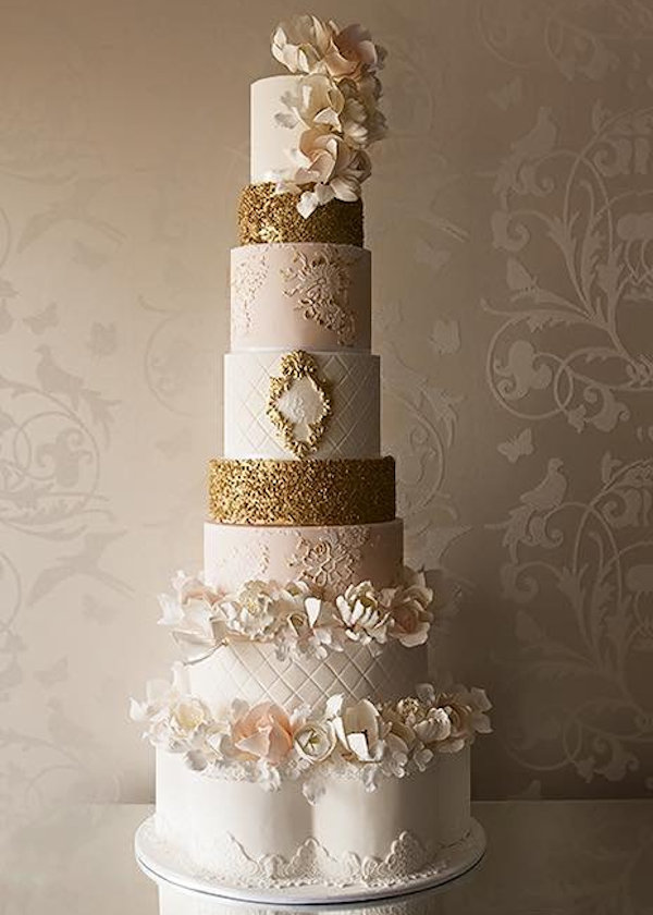8-tier-cream-gold-wedding-cake - Vindya Cakes & Events