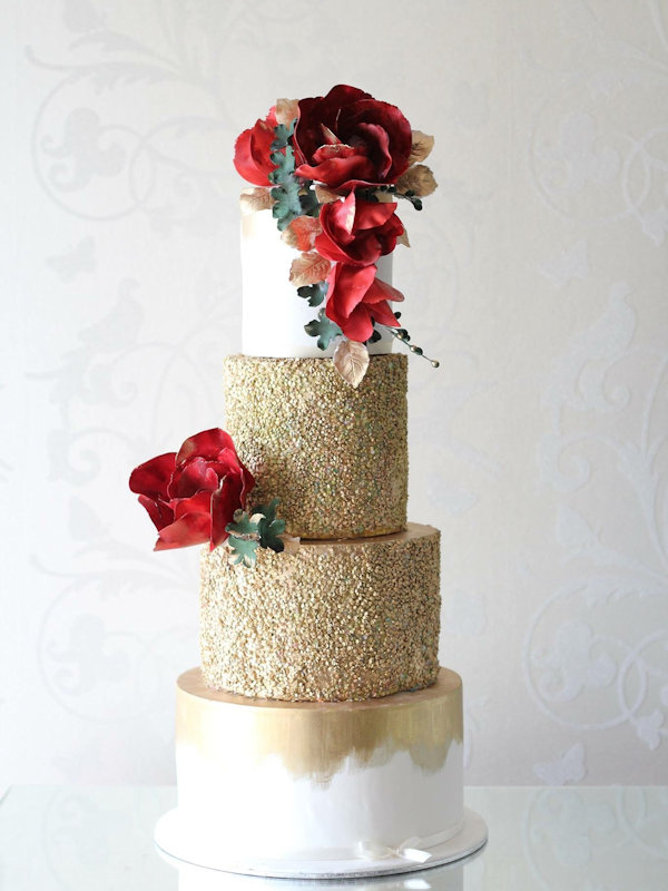gold-red-floral-wedding-cakes