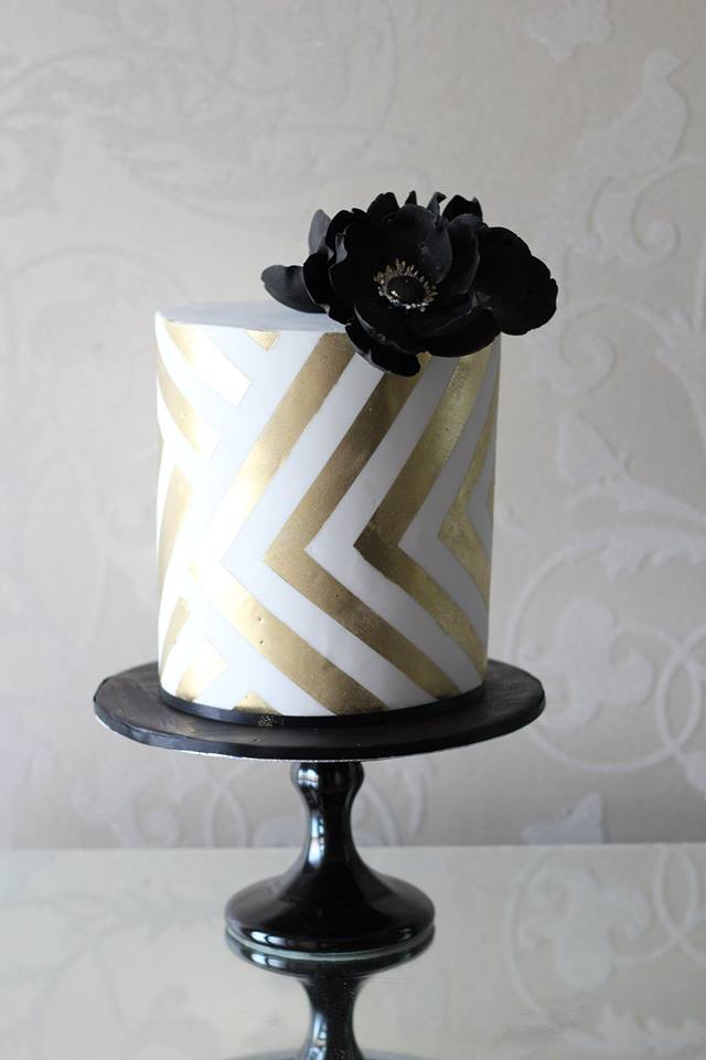 Black, Gold & White Wedding Cakes
